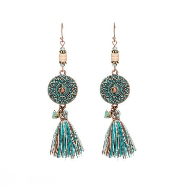 (Clearance) Antique Vintage Bohemian Ethnic Tassel Earrings - E020232