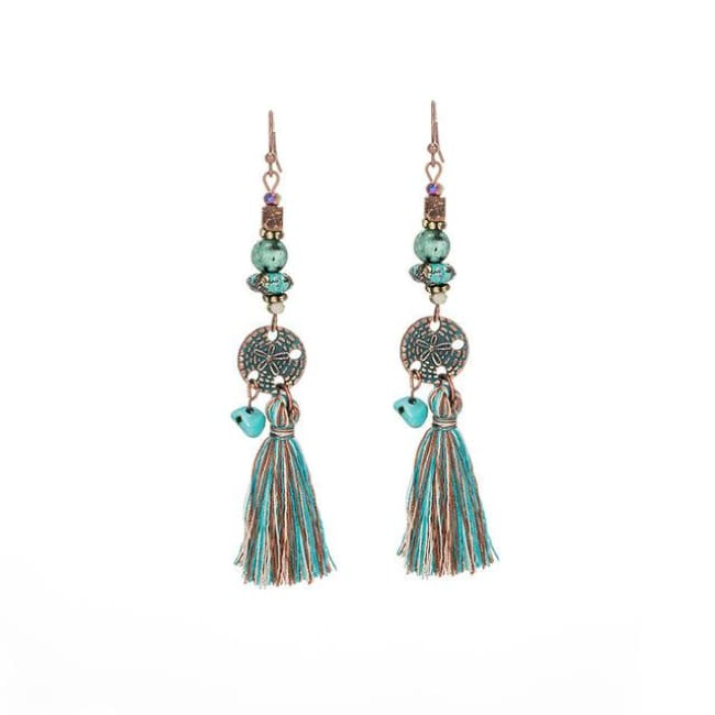(Clearance) Antique Vintage Bohemian Ethnic Tassel Earrings - E020237