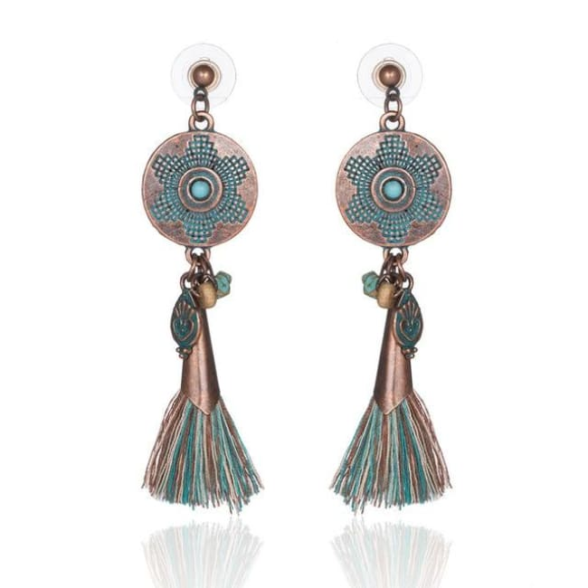 (Clearance) Antique Vintage Bohemian Ethnic Tassel Earrings - E020309