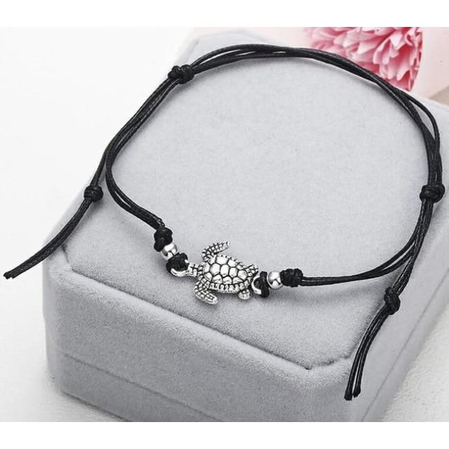 (Clearance) Beach Turtle Charm Rope String Anklets (3 Colors Available) - Ns37 Black
