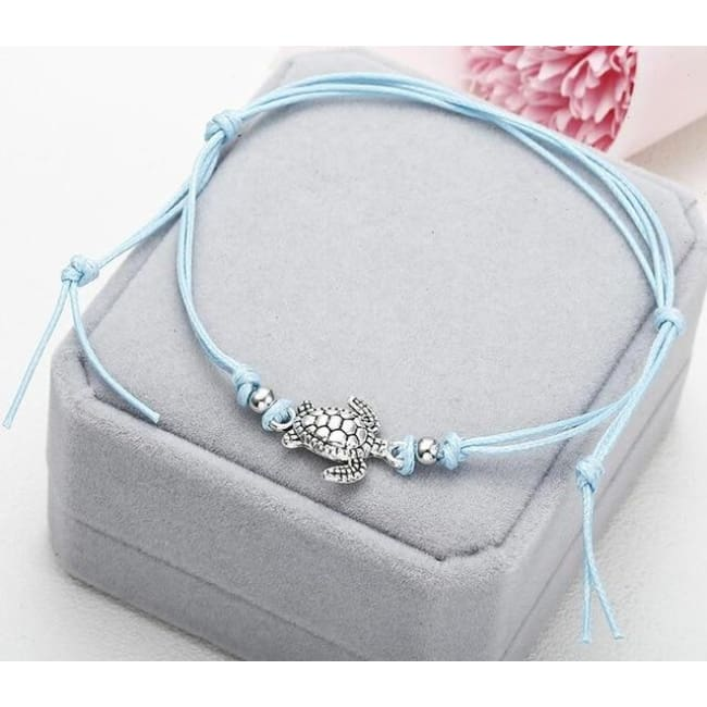 (Clearance) Beach Turtle Charm Rope String Anklets (3 Colors Available) - Ns37 Blue