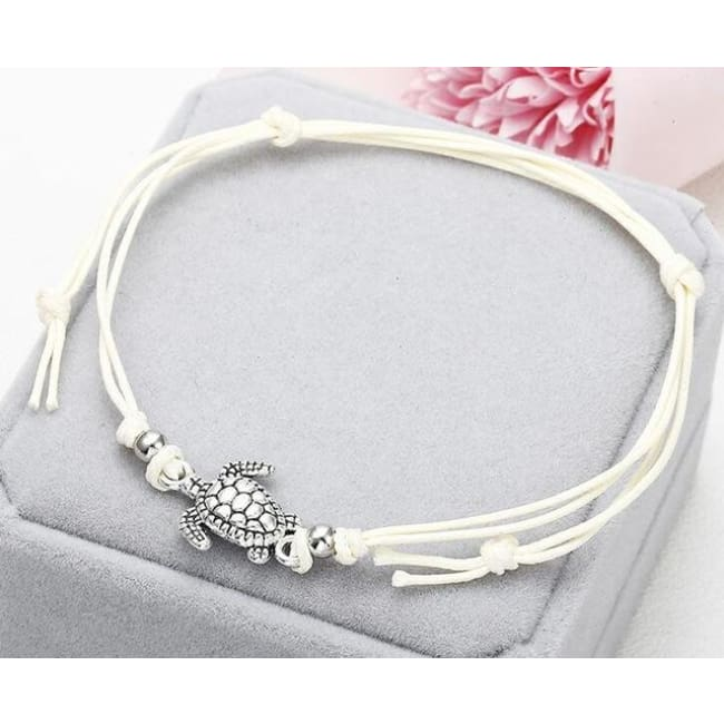 (Clearance) Beach Turtle Charm Rope String Anklets (3 Colors Available) - Ns37 White