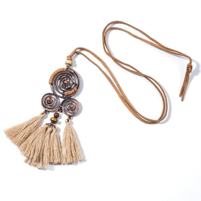 (Clearance) Bohemian Ethnic Tassel Pendant (2 Colors Available) - Beige