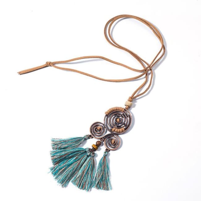 (Clearance) Bohemian Ethnic Tassel Pendant (2 Colors Available) - Mixed Green