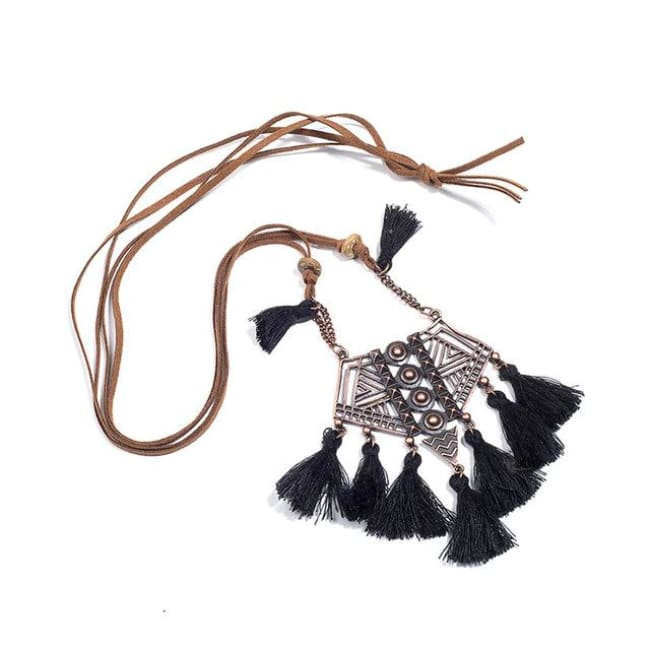 (Clearance) Bohemian Tassel Pendant (7 Colors Available) - Black