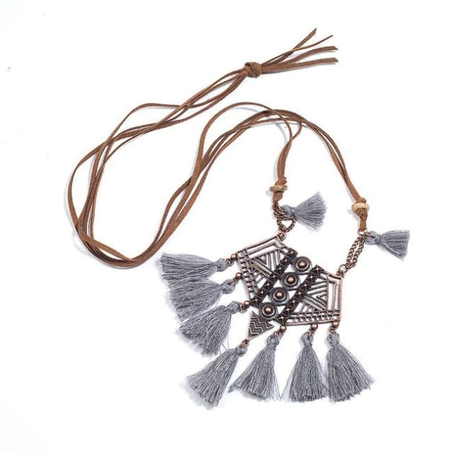 (Clearance) Bohemian Tassel Pendant (7 Colors Available) - Gray