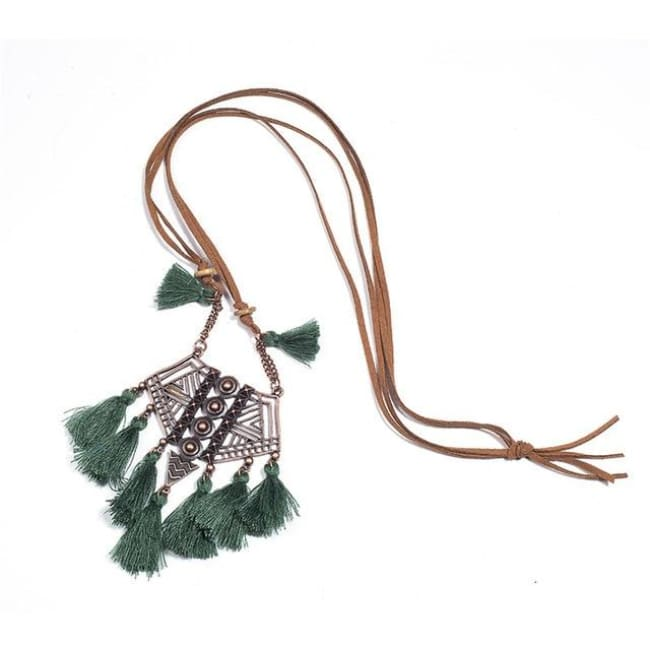 (Clearance) Bohemian Tassel Pendant (7 Colors Available) - Green