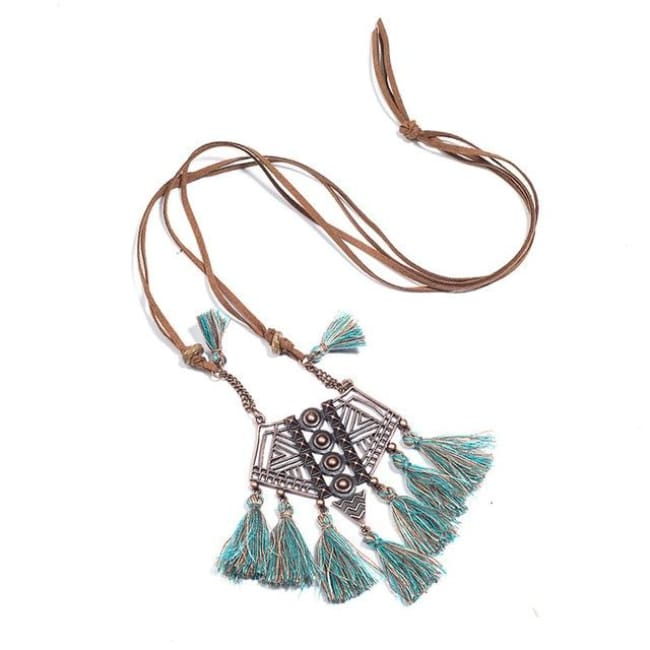 (Clearance) Bohemian Tassel Pendant (7 Colors Available) - Mix Green