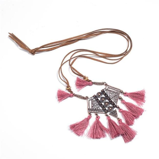 (Clearance) Bohemian Tassel Pendant (7 Colors Available) - Watermelon Red