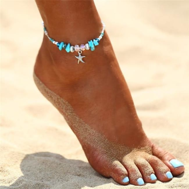 (Clearance) Charm Bohemian Starfish Stone Anklets - Fcs506