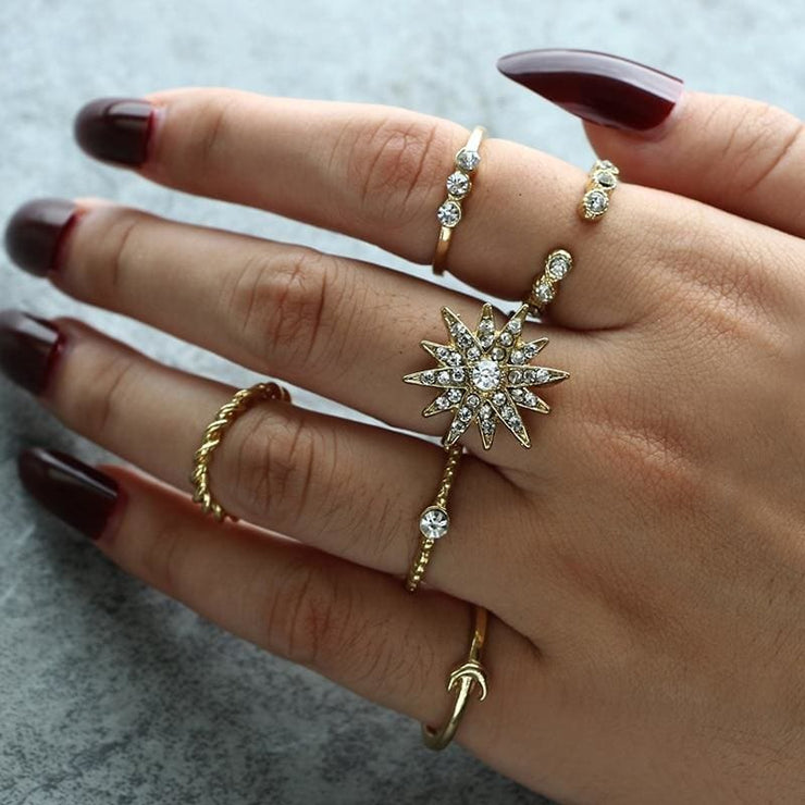 (Clearance) Crystal Sun Flower Moon Rings (Set Of 6 Rings)