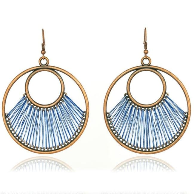 (Clearance) Dangle Bohemian Ethnic Drop Earrings (6 Colors Available) - Blue