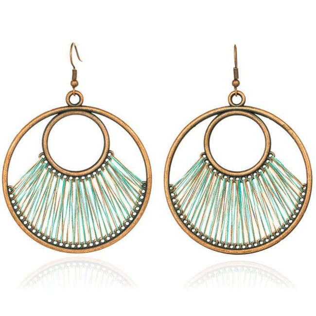(Clearance) Dangle Bohemian Ethnic Drop Earrings (6 Colors Available) - Green