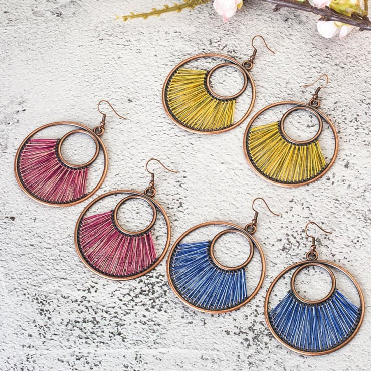 (Clearance) Dangle Bohemian Ethnic Drop Earrings (6 Colors Available)