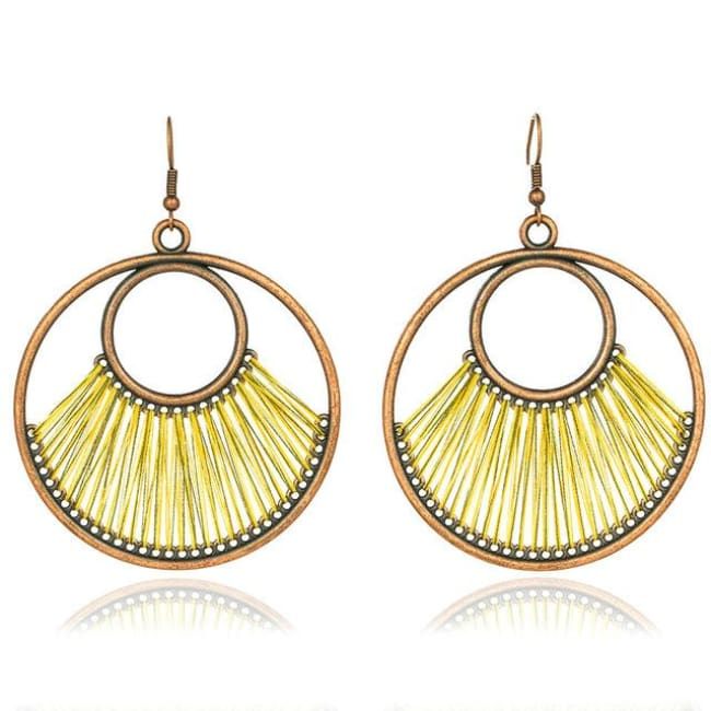 (Clearance) Dangle Bohemian Ethnic Drop Earrings (6 Colors Available) - Yellow
