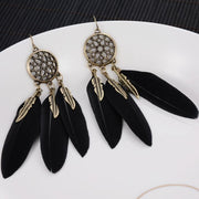 (Clearance) Dreamcatcher Vintage Leaf Feather Earrings (2 Colors Available)