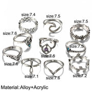(Clearance) Elephant 10 Piece Set Antique Silver Cross Crown Crystal Rings