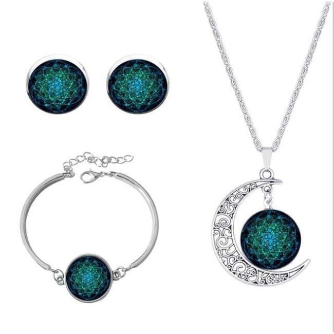 (Clearance) Flower Of Life Pendant - Silver Set