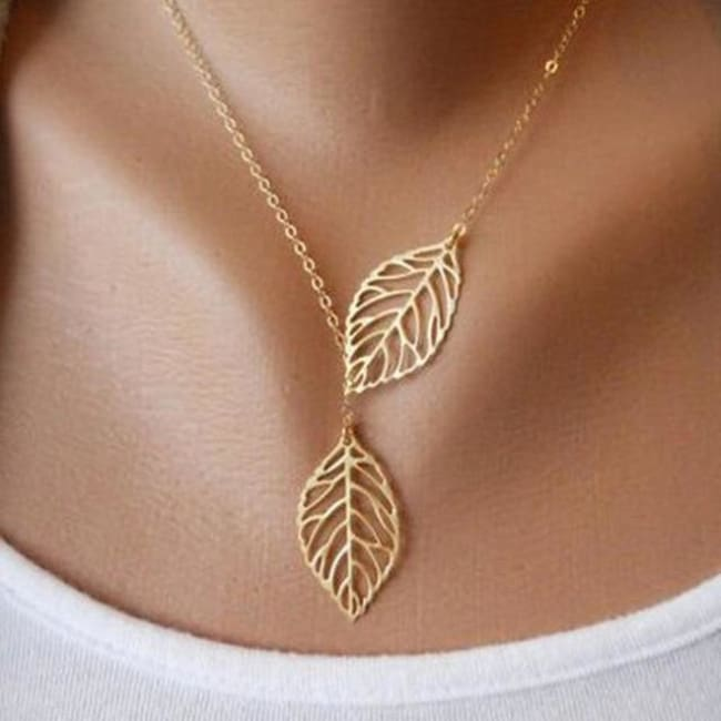 (Clearance) Golden/silver Leaf Chain Necklace - Gold