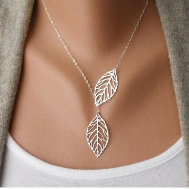 (Clearance) Golden/silver Leaf Chain Necklace - Sliver