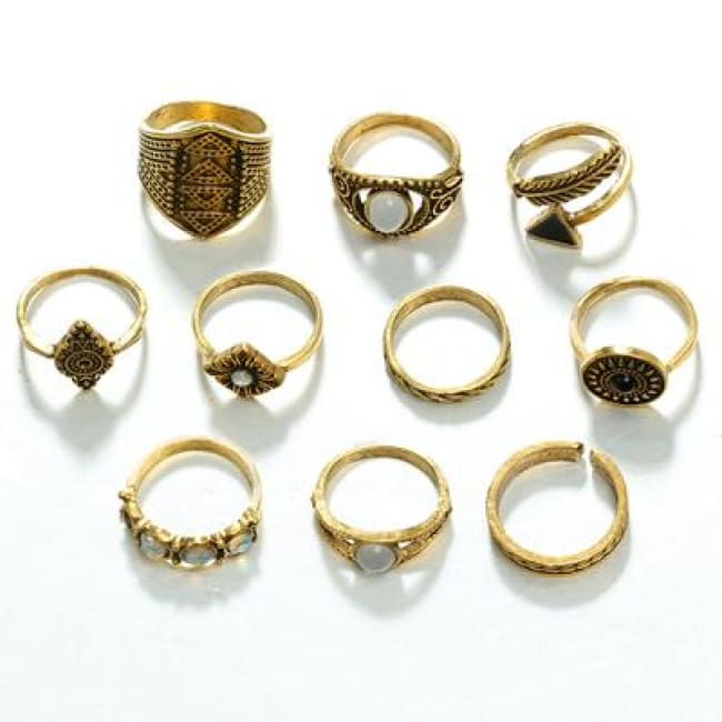 (Clearance) Golden/silver Leaf Stone Vintage Crystal Rings (Set Of 10 Rings) - Gold