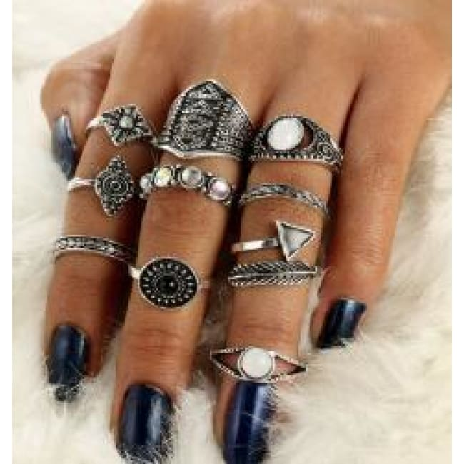(Clearance) Golden/silver Leaf Stone Vintage Crystal Rings (Set Of 10 Rings) - Sliver