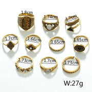 (Clearance) Golden/silver Leaf Stone Vintage Crystal Rings (Set Of 10 Rings)