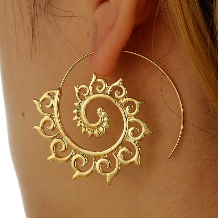 (Clearance) Gold/sliver Spiral Dangle Earrings