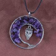(Clearance) Tree Of Life Gemstone Owl Pendant - Amethyst