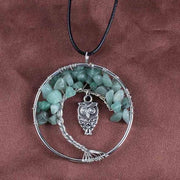 (Clearance) Tree Of Life Gemstone Owl Pendant - Green Aventurine