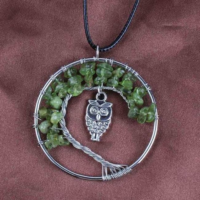 (Clearance) Tree Of Life Gemstone Owl Pendant - Olivine