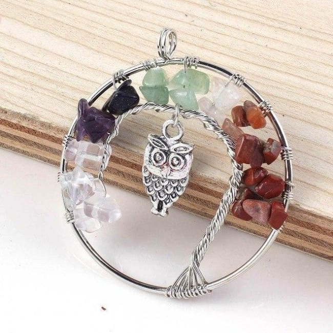 (Clearance) Tree Of Life Gemstone Owl Pendant - Rainbow Stone