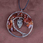 (Clearance) Tree Of Life Gemstone Owl Pendant - Red Agate