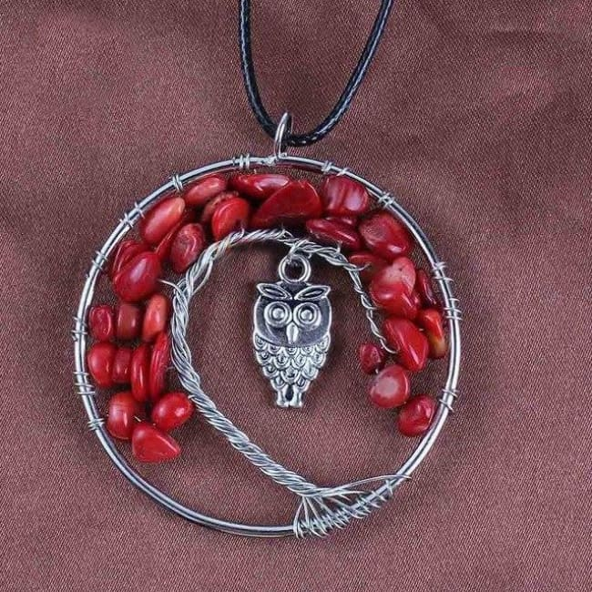 (Clearance) Tree Of Life Gemstone Owl Pendant - Red Coral