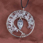 (Clearance) Tree Of Life Gemstone Owl Pendant - Rock Quartz Crystal