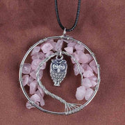 (Clearance) Tree Of Life Gemstone Owl Pendant - Rose Quartz
