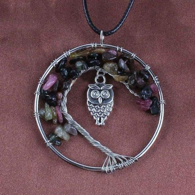 (Clearance) Tree Of Life Gemstone Owl Pendant - Tourmaline