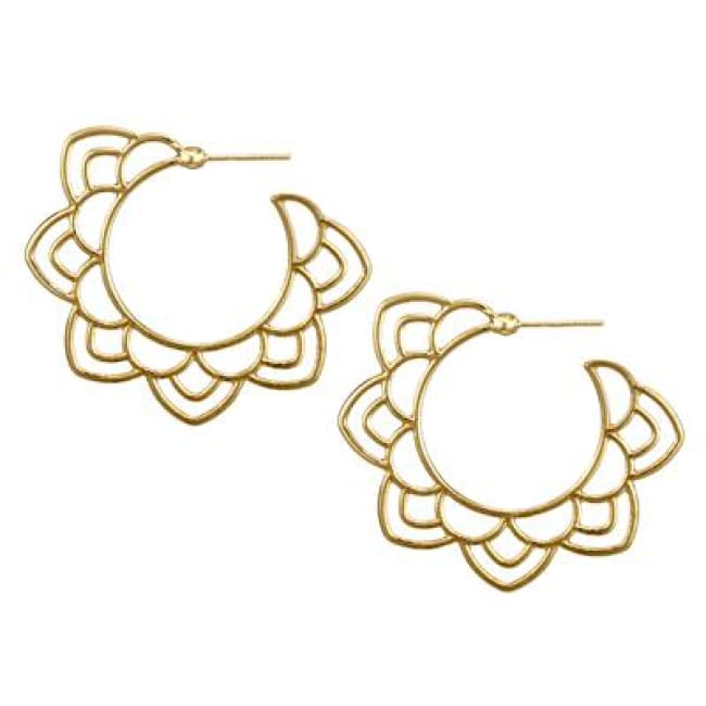 (Clearance) Tribal Gold/silver Floral Drop Earring - Gold