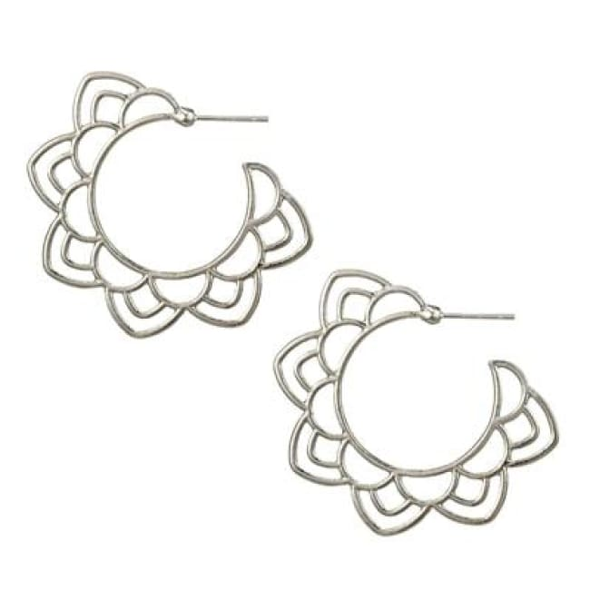 (Clearance) Tribal Gold/silver Floral Drop Earring - Silver