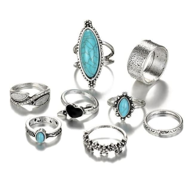 (Clearance) Vintage Antique Sky Blue Ring Set - Rjcs476