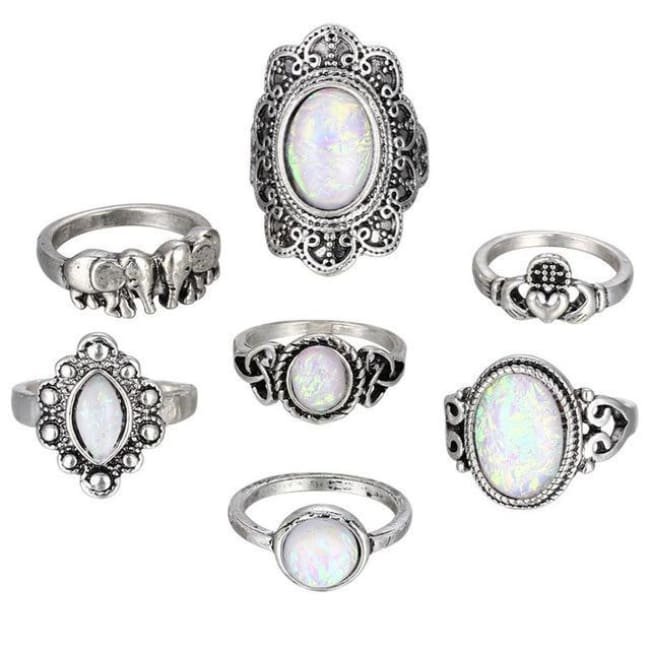 (Clearance) Vintage Antique Sky Blue Ring Set - Rjcs566