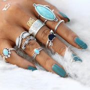 (Clearance) Vintage Antique Sky Blue Ring Set