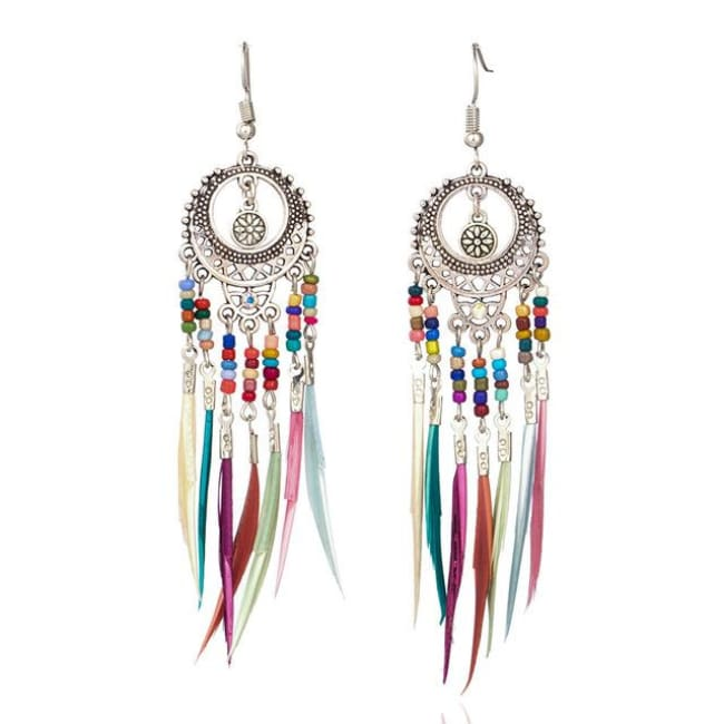 (Clearance) Vintage Ethnic Rainbow Feather Dangle Drop Earrings - Silver