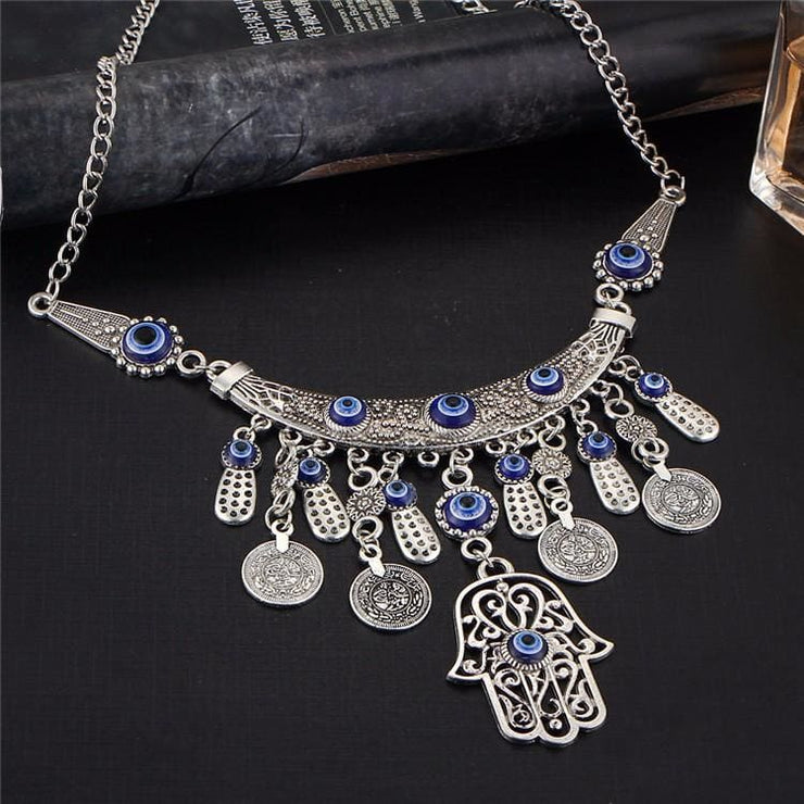 (Clearance) Vintage Silver Tibetan Hamsa Pendants Necklace