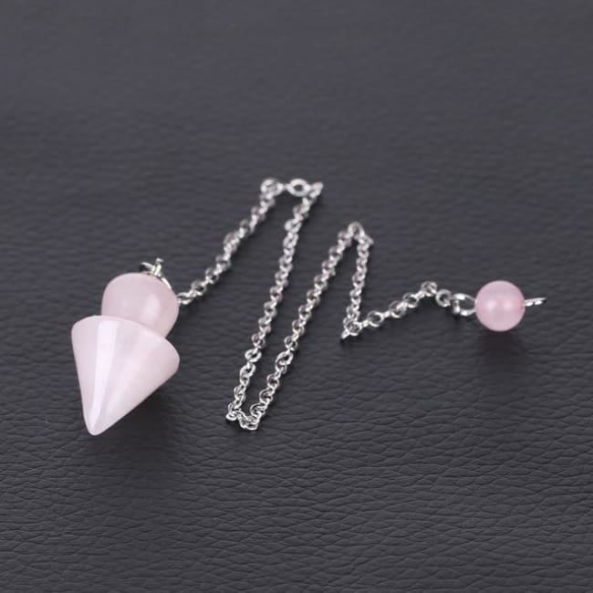 Cone Taper Natural Stone Pendulum - Rose Quartz