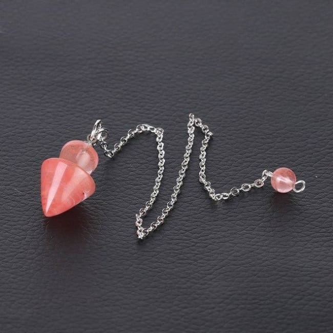 Cone Taper Natural Stone Pendulum - Watermelon Crystal