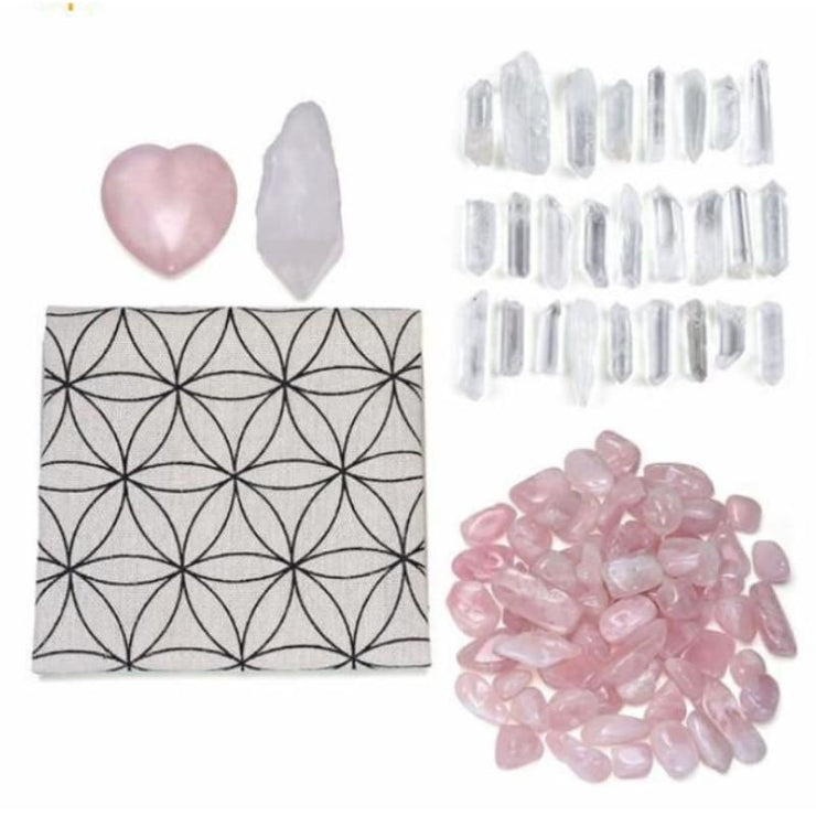 Crystal Grid Reiki Energy Healing Kit With Rose And Clear Quartz