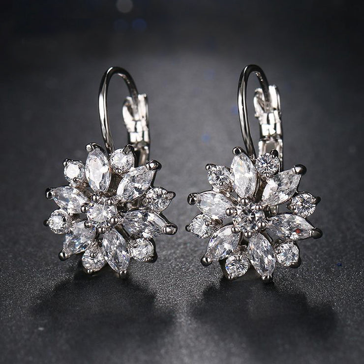Cubic Zirconia Flower Drop Earrings