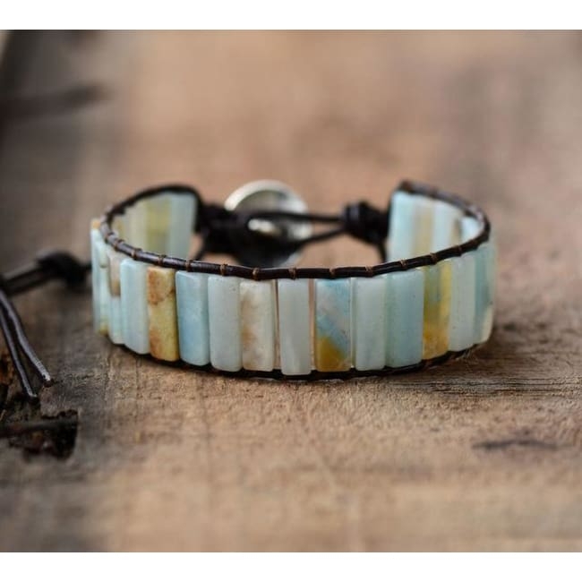 Earth Spirit Amazonite Leather Wrap Bracelet - Dark Brown Leather