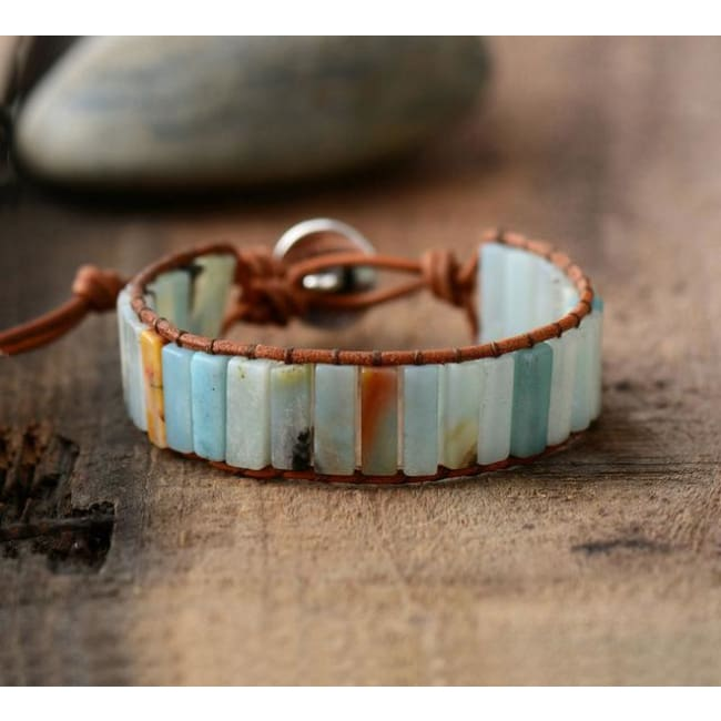 Earth Spirit Amazonite Leather Wrap Bracelet - Natural Leather
